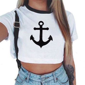 CREYYN6 2017 New Fashion brand Summer style Anchor printed t shirt women tops t-shirt O-neck cotton tee