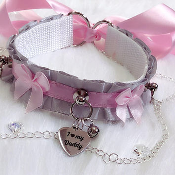 MADE TO ORDER- Silver and Light Pink Luxury Elegant I love my Daddy Chains Collar