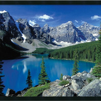 "0-012371>25x37"" Moraine Lake Banff Framed Art Gel Coated"
