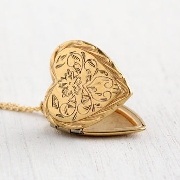 Vintage 12k Gold Filled Heart Locket Necklace - 1940s WWII Era Sweetheart Flower Jewelry Hallmarked Winward