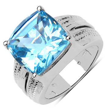 7.50 Carat Genuine Blue Topaz .925 Sterling Silver Ring