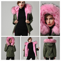 Army Green Military Real Fur Parka, Faux Fur Lining LUXURIOUS - 6 colors avail