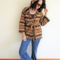 Vintage Hippie Boho Tan Southwest Ethnic Tribal Eagle Bell Sleeve Hooded Cardigan