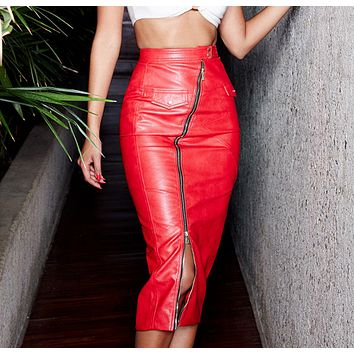 Fashion women's new PU zipper fake pocket irregular half-length leather skirt