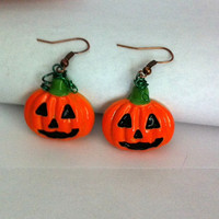 cute jack o lantern pumpkin earrings