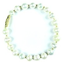 Mogul Womens Bracelet Faux Pearls Accent Off White Stretch Wrist Bracelets Jewelry, Gift for Her
