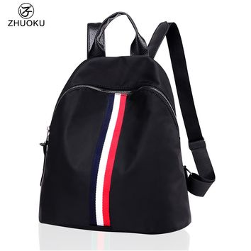 ZHUOKU Oxford Striped School Bags 33x32x15cm High Quality Casual Waterproof Backbacks Fashion Backpack Women Student Bag B003