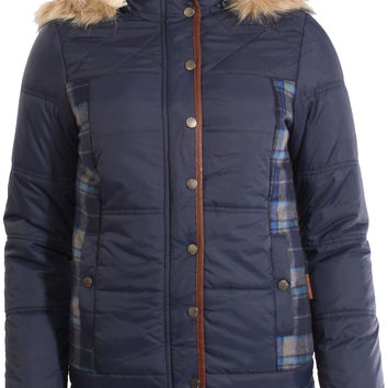 Bellfield Dankov Fur And PU Trim Tartan Panel Hooded Padded Jacket