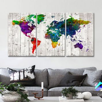 "LARGE 30""x 60"" 3panels 30x20 Ea Art Canvas Print Watercolor Old Map World Push Pin Travel M1810"