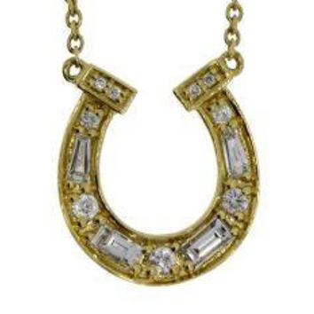14k Yellow Gold Horseshoe Necklace with Round and Baguette Diamonds .27 ct tw