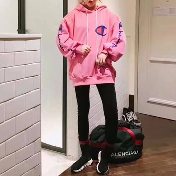 """Champion"" Casual Fashion Personality Letter Print Loose Long Sleeve Thickened Hooded Sweater Tops Women Hoodie"