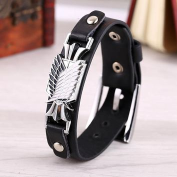 Film Anime Attack on Titan Wings of PU Charm Men Shingeki no Kyojin Cosplay Bangles Survey Corps Leather Bracelets
