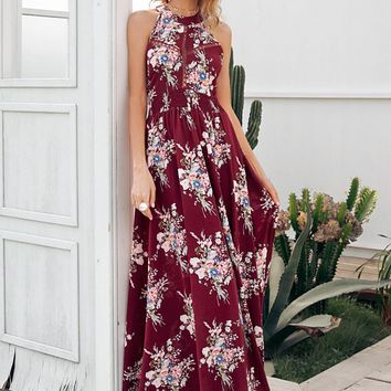 Simplee Floral Lace Insert Backless Maxi Halter Dress