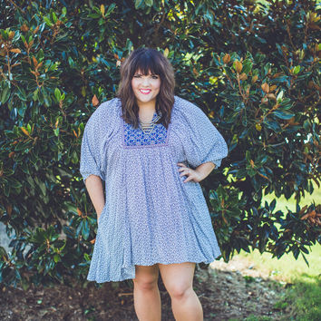 PLUS SIZE: Boho Babydoll Dress in Blue