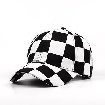 Fashion Adjustable Baseball Cap Men Women Hat Cotton Black And white Color Printing Dyeing Summer Hat