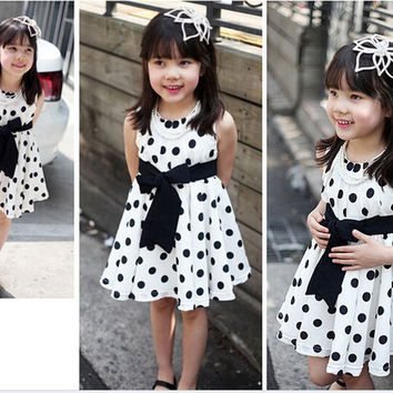 Fashion New Summer Dot Children's Dress Beautiful Dresses for 3RD 4TH 5TH 6TH Children Dresses White Blue Color Free Drop Shippping