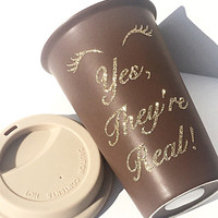 Younique Fiber Lashes Glitter Coffee Mug - To Go Coffee Cup - Travel Coffee Mug - Gold Glitter