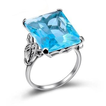 Aquamarine 925 Sterling Silver Vintage Rings For Women