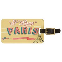 Vintage I love Paris luggage tag
