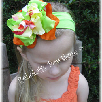 M2MG Gymboree Girls Hair Bow Headband Bowband OR Clip Bow Citrus Cooler Summer M2M Double Ruffle Korkers Bright Colors