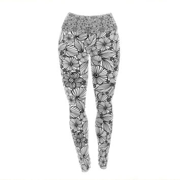 "Julia Grifol ""Candy Flowers In Black"" Gray White Yoga Leggings"