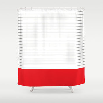 Vintage Dark Grey and Red Stripes Shower Curtain by Kat Mun