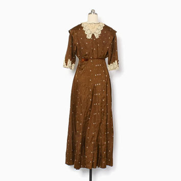 Vintage EDWARDIAN DRESS / 1910s Brown Silk Lace Trim Day Dress XS