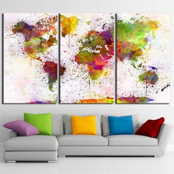 Color World Map Painting Continent Wall Picture