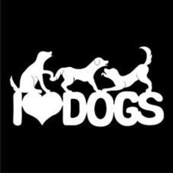 I love dogs 3 Decal Tablet PC Decal Automobile Window Wall Laptop Notebook Macbook Ipad iphone smartphone Truck bumper skateboard