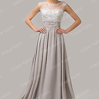BEADED Long Bridesmaid Wedding Evening Formal Party Gown Prom Homecoming Dress