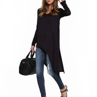Black Top with Asymmetric Hem