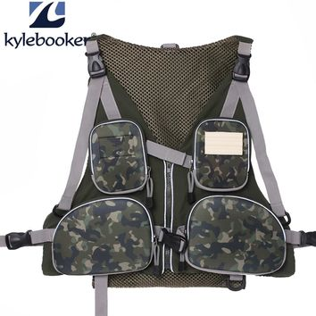 New outdoor camo men's  fly fishing Vest Fishing Pack Handy Adjustable  Fishing mesh Vest hunting clothes fishing bag