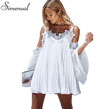 Lovely Lace Splice Off shoulder Ladies Mini Dress or Tunic Blouse