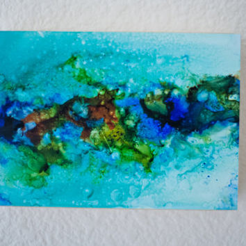 Alcohol Ink Painting - Abstract art - Alcohol Ink Art - Original Art -  OOAK - Landscape Inspired Abstract - 5x7