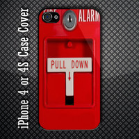 Red Fire Alarm Pull Down Custom iPhone 4 or 4S Case Cover