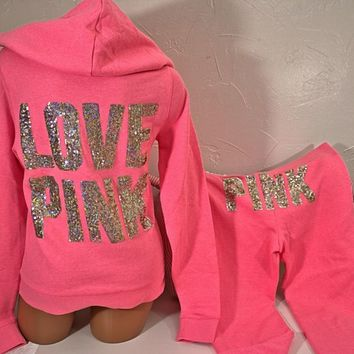 Victoria's Secret ~Pink~ sz Large Fleece Hoodie & Flare, Gold Bling