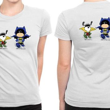 DCCKG72 Funny Batman And Robin Peanuts B 2 Sided Womens T Shirt