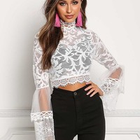 White Lace & Tulle Brocade Bell Sleeve Crop Top