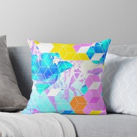 'Pop Floral Cube Pattern 1 #fashion #pattern #lifestyle' Throw Pillow by Dominiquevari