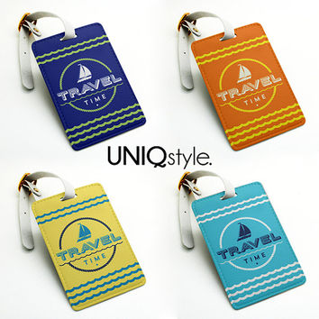 Luggage tag, Travel bag tag, name tag, office tag, id tag, suitcase tag with strap - travel holidays - gift for him gift for her - N27