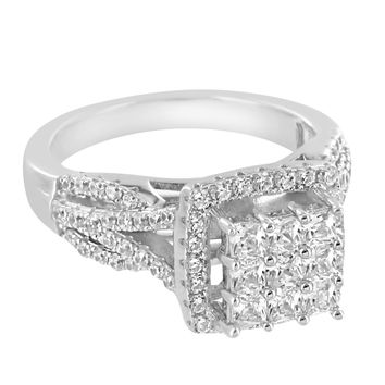 Custom Silver Iced Out Princess Cut Lab Diamonds 14k Rhodium Finish Ring Band