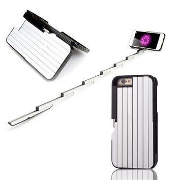 3 In 1 Aluminum Foldable Selfie Stick + ABS Stand Case Cover For iPhone 6S 7 8 Plus  w/Bluetooth Remote Control