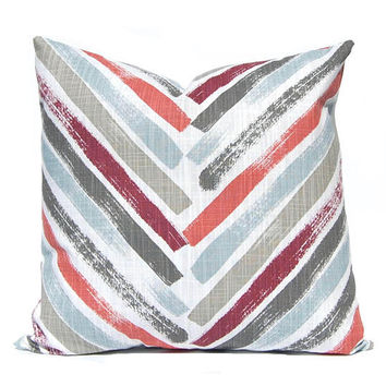 Designer Pillow Cover - Chevron Cushion - Decorative Throw Pillow Covers - Colors of Brick Red,Dusty Blue, Burgundy and Gray on White