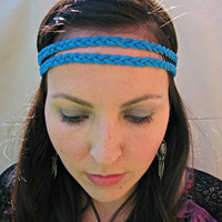 Braided Leather Native Tribal Headband, Double Strand headband, Turquoise suede leather, bohemian headband