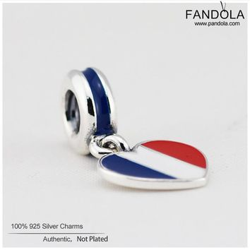 France Heart Flag Beads 925 Sterling Silver Mixed Enamel Dangle Charms Beads for Jewelry Making Fits Pandulaso Diy Bracelets