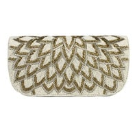 Vinati Hand Beaded Clutch in Ivory