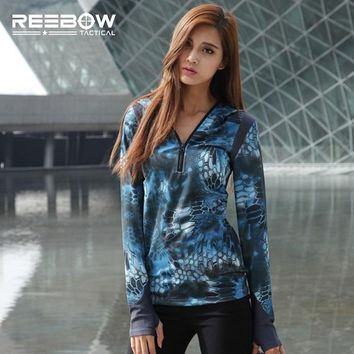 Hiking Shirt Combat Women Spring Camouflage Long Sleeve T Shirt Printing Military Sexy Urban Camo Tops Tee Shirt for Outdoor Sports Hunting Fishing KO_15_1