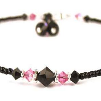 Sexy Black Anklets: Swarovski Crystal Birthstones Pink Tourmaline October