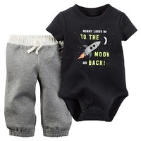 Baby Boy Carter's Spaceship Bodysuit & French Terry Pants Set