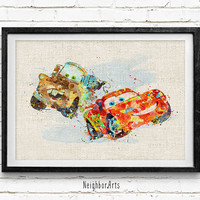 McQueen and Mater Watercolor Art Print, Watercolor Poster, Kids Decor, Nursery Art, Gift, Wall Art, Home Decor Not Framed, Buy 2 Get 1 Free